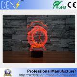 USB Desk Lampara 3D Visual LED Horloge réveil