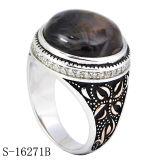 Pietra di pietra naturale di Marcasite degli anelli musulmani degli uomini dei nuovi modelli della fabbrica