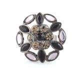 De nieuwe Zwarte Ringen van de Bloem voor Prijs van de Fabriek van de Verlovingsring Zircon van de Steen van de Prinses van de Gift van de Juwelen van de Manier van Vrouwen de Elegante Grijze Tsjechische