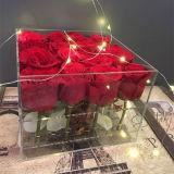 Творческая пластичная акриловая флористическая коробка цветка, коробка Rose подарка Дня матери
