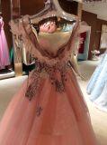 Uma linha vestido de casamento delicado da noite da cor-de-rosa da alta qualidade