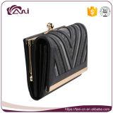 Бумажник повелительницы двойной рамки PU серого черного способа кожаный