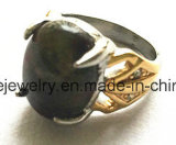 Anillo de bastidor de la piedra del verde del acero inoxidable de la joyería de la manera