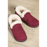 Vrouwen Shearling omzoomde Suede Slipper Shoes