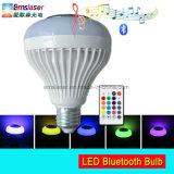 LED Bluetooth 전구 스피커 RGB E27 원격 제어를 가진 무선 음악 플레이어