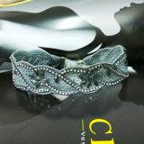 Encaje Negro de la vendimia con el collar del ahogador de la piedra de poliéster de la Mujer