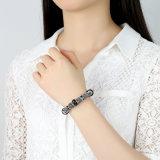 Branelli neri d'avanguardia di Murano del braccialetto & della parte superiore di fascino