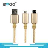 Cabo de dados do USB do metal da alta qualidade de Bwoo para o carregador dos Duplo-Lados