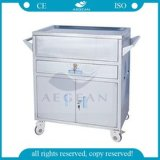 AG-Et023 Karretje van de Noodsituatie van het Ziekenhuis van het Medicijn van het Roestvrij staal het Beweegbare