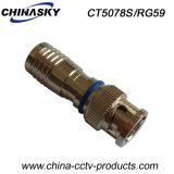 Connecteur imperméable à l'eau de la télévision en circuit fermé BNC de compactage mâle pour Rg59 (CT5078S/RG59)