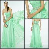 A - Zeile Partei-Abschlussball-Kleid, das grüne Chiffon- Abend-Kleider E35810 bördelt