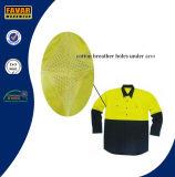 Workwear di lunghezza di sicurezza della camicia del manicotto del cotone di Fluro di estate gialla del trivello con lo sfiato della maglia