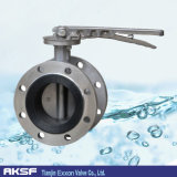 Handgriff Type Full SS 316/316L Triple Offset Flanged Butterfly Valve