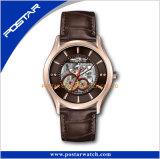 Montre de luxe d'acier inoxydable de quartz de logo de montre de marque de montre démodée en arrière