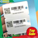 mini cartão impresso da lealdade do PVC Keytag com código de barras (1card com os 3 Tag pequenos)