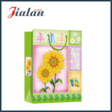 Glossy Laminated Art Paper Sunflowers Shopping promotionnel Sac à papier cadeau
