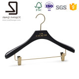 Black Wooden Hanger, Wooden Clothes Hanger, Hanger with Clips