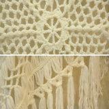 여자 특대 백색 식물상 크로셰 뜨개질 판초 스웨터