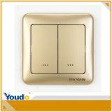 Z-Fluttuare il nuovo interruttore domestico astuto della parete dell'indicatore luminoso del regolatore della luminosità di telecomando dell'oro