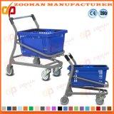 Chariot en plastique à achats d'épicerie en métal de fil de double panier de rangée (Zht220)