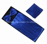 New Gentle Men Dress Poliéster Ajustável Cintura de seda Cummerbund Bowtie Hanky ​​Set