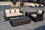 屋外の家具の藤か灯心椅子および表