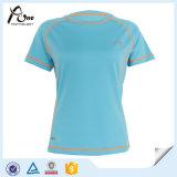 Camiseta redondeada de la aptitud del poliester de las mujeres 100 del cuello