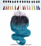 Virgin 머리 Ombre #1b/Blue 바디 파 레이스 마감