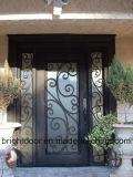 La puerta de entrada de la parrilla de la puerta del hierro labrado diseña precios