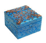 Fabric Handmade Jewelry Box con Gold Trim