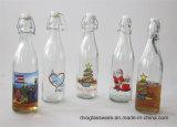 Bottiglia di olio di vetro con il coperchio di plastica