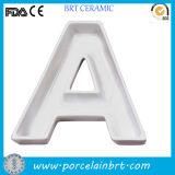 Piatto di porcellana di ceramica del regalo della zolla su ordinazione della lettera