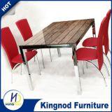 인기 상품 Woodlike 최고 색칠 유리제 식사 고정되는 테이블 및 의자