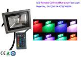 Luz de inundação controlo remoto do RGB com painel de controle