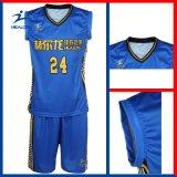 Uniforme cheio azul e amarelo do basquetebol do projeto do Sublimation