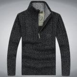 Maglione lungo Yf1553 del pullover del manicotto del collare della chiusura lampo dei vestiti degli uomini di svago