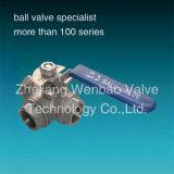 Válvula de bola de acero inoxidable de 3 vías 1000 Wog Dn50