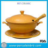 Шикарное Yellow Cookware Ceramic Ladle Soup Tureen с Tray
