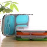 Коробка обеда силикона 3 отсеков с вилкой и ложкой