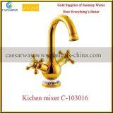 Rubinetto sanitario dorato della cucina del colpetto di acqua degli articoli