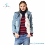 Women Hot Sale Denim Coat avec fourrure en doublure