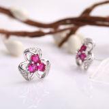 여자의 형식 925 순은 3개의 꽃잎 꽃 상감세공 결정 귀걸이