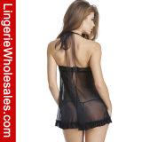 Biancheria stabilita degli indumenti da letto della breve del merletto delle donne bamboletta sexy del Halter