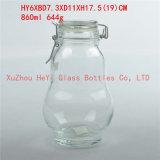 frasco de vidro do vidro da forma do Calabash do frasco do grande armazenamento de vidro do frasco 870ml