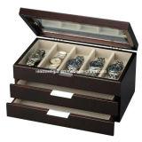 Cassa per orologi nera del cuoio del Faux (6 vigilanze)