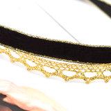 Het hete Trendy Dubbele Met de hand gemaakte Zwarte Fluweel van de Laag met Gouden Kleur haakt de Halsband van de Nauwsluitende halsketting