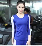نساء [85سبندإكس15نلون] لياقة سهل [ف] عنق تباين لون 3/4 كم [تشيرت] رياضة لباس