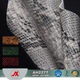 2017新しいヘビパターン袋、靴、ソファーのための人工的なPVC革