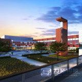 教育の建物のレンダリングの正面の眺めおよび空中写真