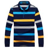 Chemise de polo rayée de mode d'OEM chemise faite sur commande d'hommes de longue